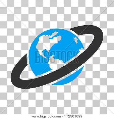Ringed Planet vector pictogram. Illustration style is flat iconic bicolor blue and gray symbol on a transparent background.