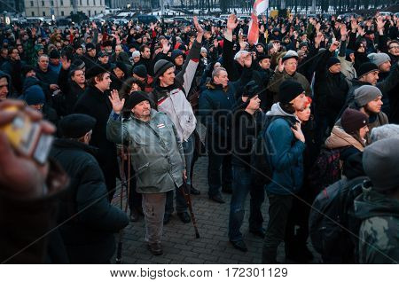 Minsk Belarus - February 17 2017 - Belarusian people participate in the protest against the decree 3 'On prevention of social parasitism' of President Lukashenko in the center of Minsk