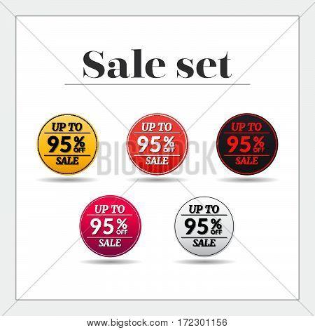 Sale set 95% off sticker, banner, Emblem sale isolated on white background. Big sale, special offer, discounts. Vector illustration.