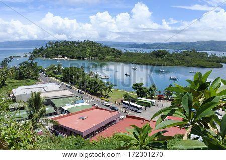 Aerial Landscape View Of Savusavu Vanua Levu Fiji