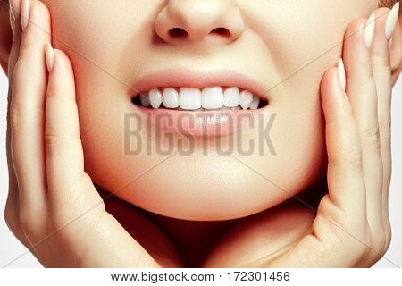 Part Of The Face Close-up, Toothy Smile, Concept After Bleaching. Beauty Care. Teeth Whitening