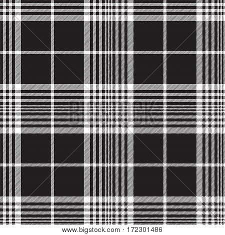 Black and white plaid background seamless fabric texture. Vector illustration.