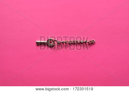 Golden Key On A Pink Background.