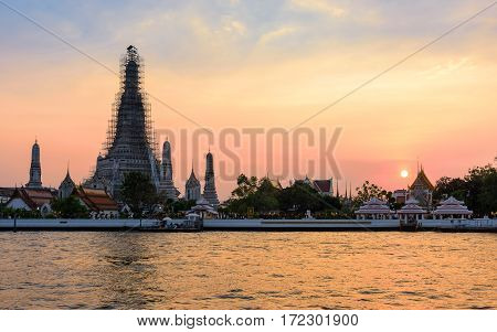 Wat Arun temple of the Dawn is one of the best known landmarks and one of the most published images of Bangkok
