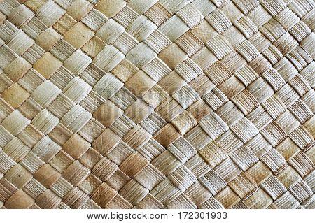 Fijian Coconut Palm Leaves Weaving Background