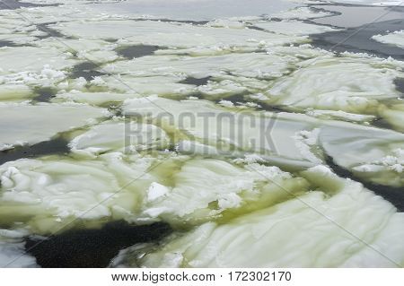 Ice formations on Ukrainian river Dnepr at January
