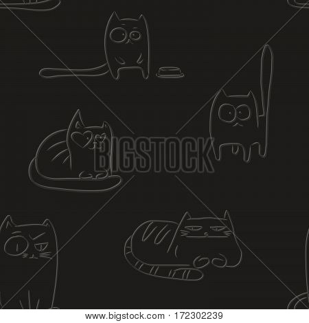 Letterpress seamless pattern with hand drawn sketches of funny cats.