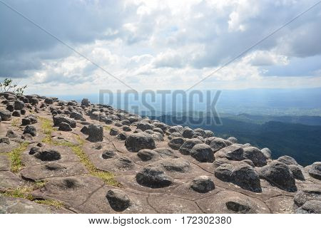 Lan Hin Pum Pum [Nodule Rock Field] At Phu Hin Rong Kla National Park In Thailand