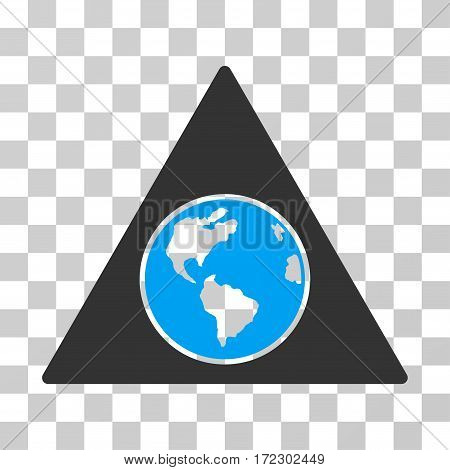 Terra Triangle vector icon. Illustration style is flat iconic bicolor blue and gray symbol on a transparent background.