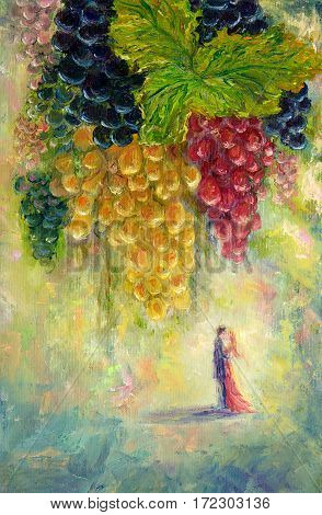 Original oil painting of bunch of grapes and couple kissing in distance on canvas.Modern Impressionism modernismmarinism