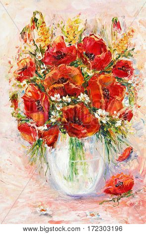Original oil painting of beautiful vase or bowl of fresh flowers on canvas.Opium poppy( Papaver somniferum).Modern Impressionism modernismmarinism