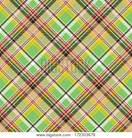 Fabric texture plaid green madras seamless pattern. Vector illustration.