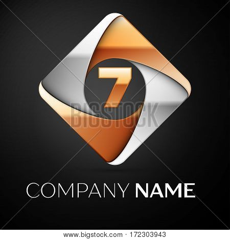 Number seven vector logo symbol in the colorful rhombus on black background. Vector template for your design
