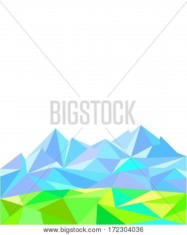 Abstract geometric polygon background graphic, image of nature, mountains and meadows