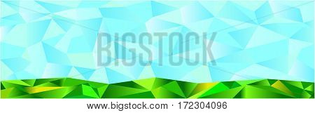Polygon blue abstract green natural banner background