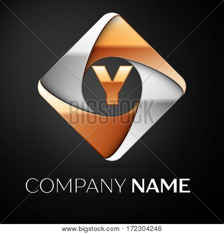 Letter Y vector logo symbol in the colorful rhombus on black background. Vector template for your design