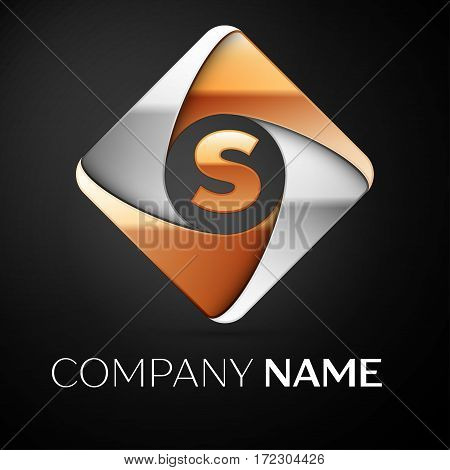 Letter S vector logo symbol in the colorful rhombus on black background. Vector template for your design