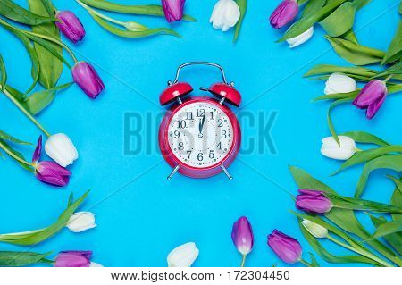 Clock And Tulips