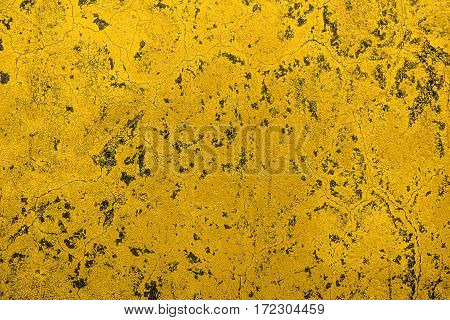 Plaster, bright yellow stucco, plastered and painted wall, stucco background, wall texture