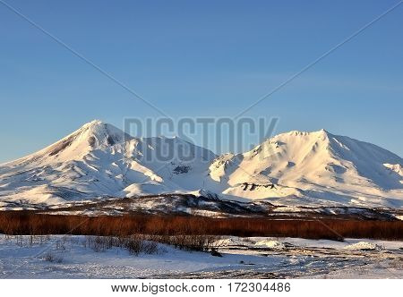 Beautiful winter volcanic landscape of Kamchatka Peninsula