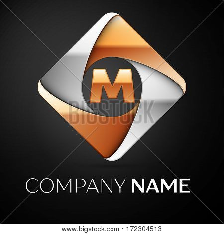 Letter M vector logo symbol in the colorful rhombus on black background. Vector template for your design