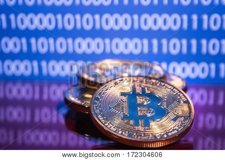 Golden bitcoins on digital background. Trading concept of crypto currency