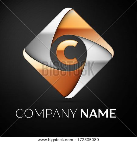 Letter C vector logo symbol in the colorful rhombus on black background. Vector template for your design