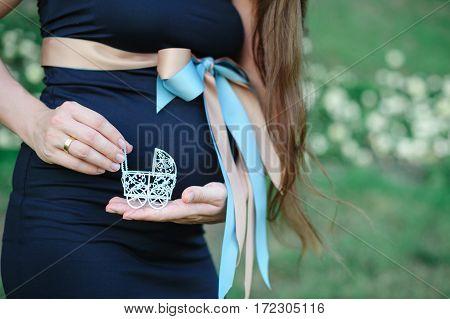 pregnant woman holding a toy stroller. concept idea.