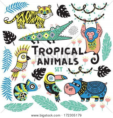 Collection of tropical animals with ethnic, tribal ornaments. Vector illustration. Cute characters for children is design