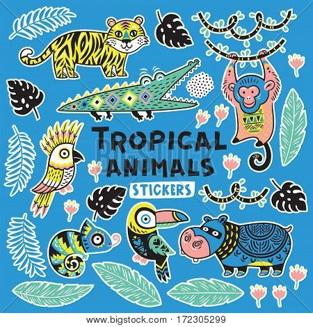 Collection of stickers with tropical animals with ethnic, tribal ornaments. Vector illustration. Set stickers, pins, patches cartoon.