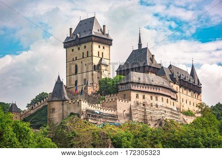 Karlstein Czech Republic - May 26 2016: Karlstein Castle is a large Gothic castle founded in 1348 by King Charles IV Holy Roman Emperor and King of Bohemia.