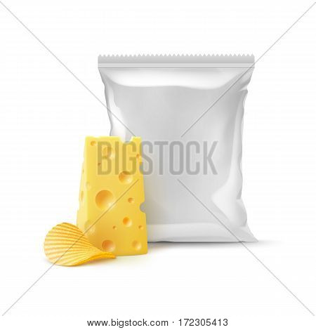 Vector Potato Ripple Crispy Chips with Cheese and Vertical Sealed Empty Plastic Foil Bag for Package Design Close up Isolated on White Background