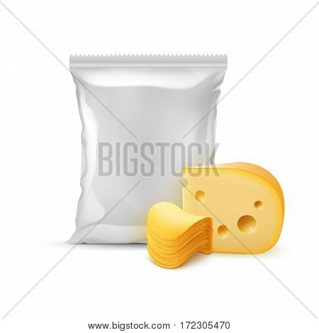 Vector Stack of Potato Crispy Chips with Cheese and Vertical Sealed Empty Plastic Foil Bag for Package Design Close up Isolated on White Background