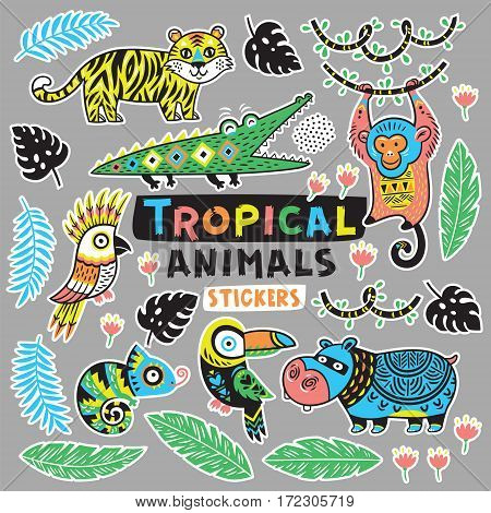Sticker set with tropical animals - crocodile and tiger, monkey, hippopotamus and chameleon. Vector illustration. Set stickers, pins, patches cartoon.