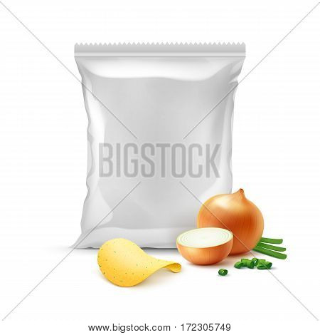 Vector Potato Crispy Chips with Onion and Vertical Sealed Empty Plastic Foil Bag for Package Design Close up Isolated on White Background