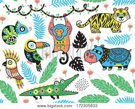 Seamless pattern of tropicals animals with ethnic, tribal ornaments on white background. Vector illustration. Funny cartoon character.