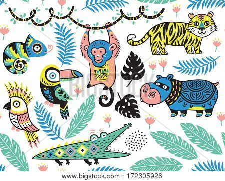 Vector summer tropical patterns with animals in cartoon style. Cute design for textile, wallpaper.