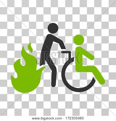 Fire Patient Evacuation vector pictograph. Illustration style is flat iconic bicolor eco green and gray symbol on a transparent background.