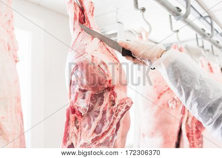 Hand of butcher in butchery cutting meat with knife