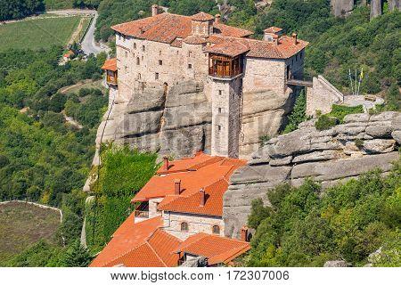 View Monastery of Roussanou (Agias Varvaras). Meteora Thessaly Greece Europe