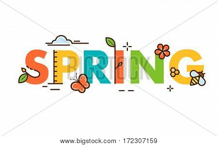 Spring text flat design illustration. EPS10 vector file organized in layers for easy editing.