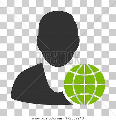 Global Manager vector icon. Illustration style is flat iconic bicolor eco green and gray symbol on a transparent background.
