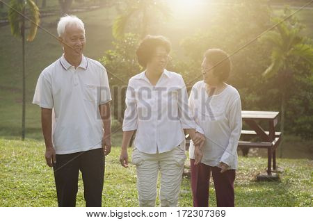 Group of healthy and happy Asian seniors retiree walking at outdoor nature park, in morning beautiful sunlight at background.