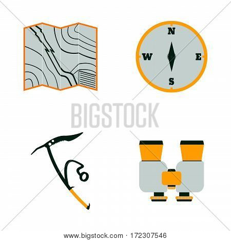 Map, Compass, Ice Ax, Binoculars Flat Icons.tourism Equipment. Trip Web Elements. Vector Illustratio
