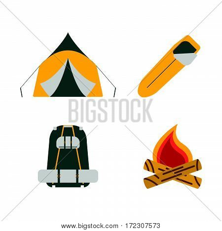 Tent, Campfire, Backpack, Sleeping Bag Flat Icons. Tourism Equipment. Trip Web Elements. Vector Illu