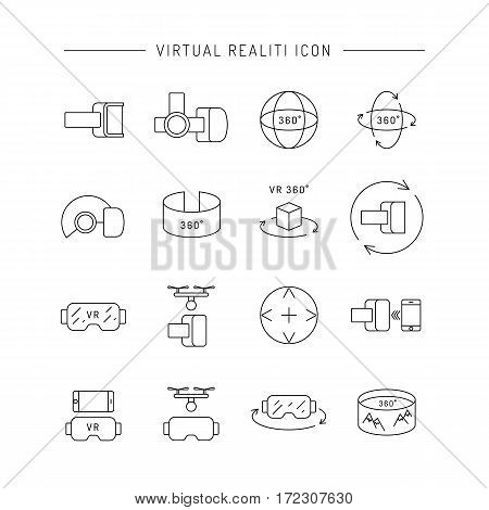 Set of icons of virtual reality equipment. Glasses and virtual reality gadgets that allow you to see the virtual space.