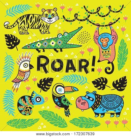 Roar. Vector tropical print with crocodile, tiger, monkey and toucan, hippopotamus, chameleon in cartoon style