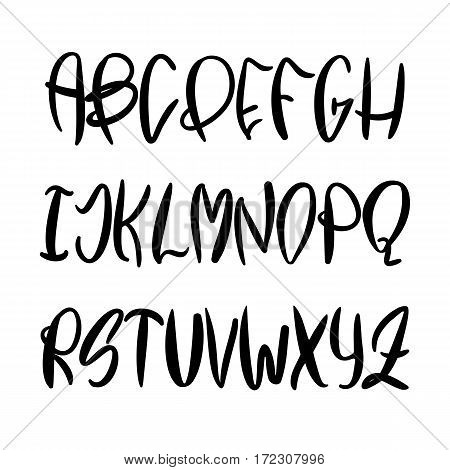 Vector hand painted latin alphabet. Unique handdrawn black inked font. Handwritten abc set isolated on white background. Modern Calligraphy style for elegant design.