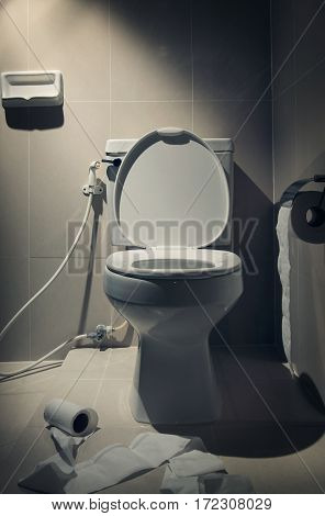 In the dark mood white toilet with toilet paer in the Bathroom interior.