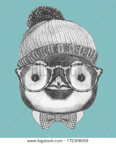 Portrait of Penguin with hat, glasses and bow tie. Hand drawn illustration.